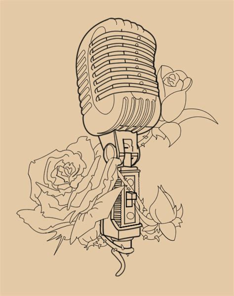 old school microphone tattoo designs vintage mic with roses lineart by skykittens on deviantart