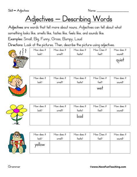 adjective worksheet teaching
