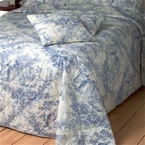 Blue Quilted Bedspread Toile De Jouy Blue Quilted Bedspread Available In 3 Sizes