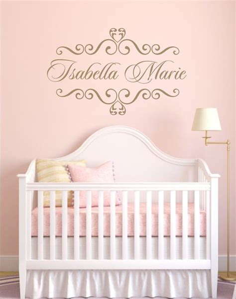 Nursery Wall Name Decals Vinyl Decal Personalized Baby Nursery Name Vinyl Wall Decal Shabby Chic Frame Wall