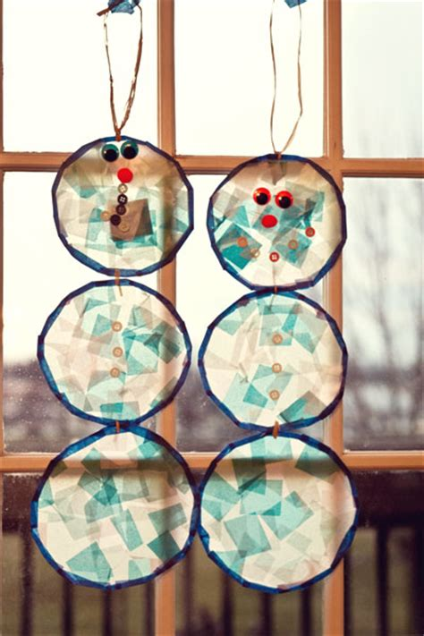Tissue Paper Stained Glass Craft For - stained glass snowmen twelve months of twelve