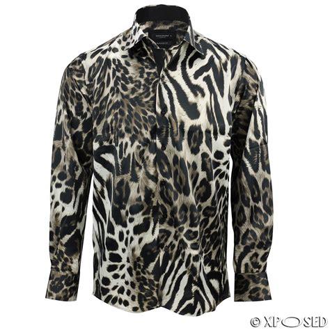 Animal Print Shirt mens italian designer style smart casual silk feel leopard