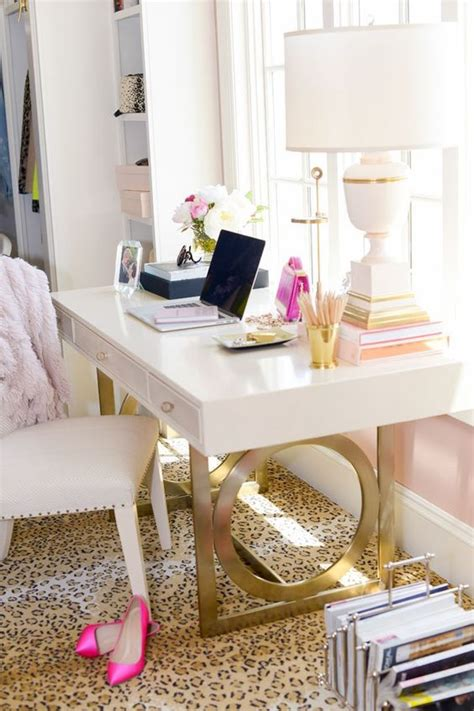 white desk with gold legs 30 delightful feminine home office furniture ideas digsdigs