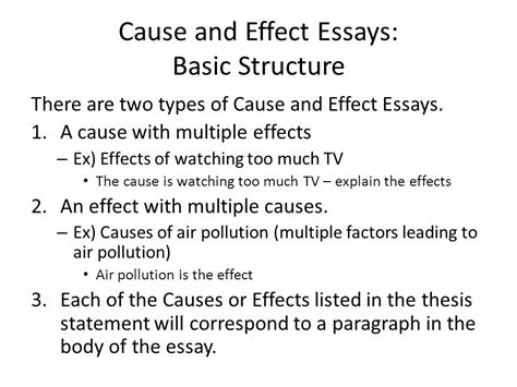 Effect Of Essay by Cause And Effect Essay Ppt