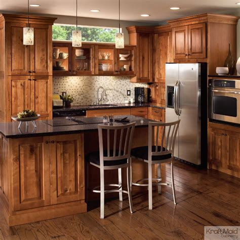 kitchen cabinets kraftmaid this rustic birch cabinetry with a praline finish adds a