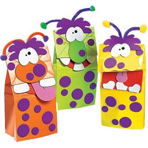 Paper Mashing Craft - mash puppet colored bags foam circles chenille