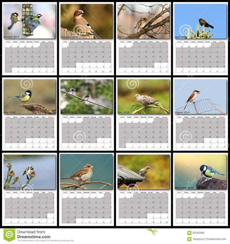 layout of calendar garden birds calendar year 2016 stock photo image 62042668