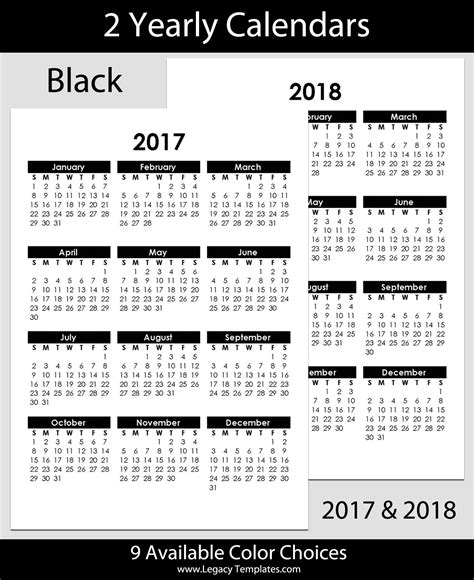 yearly calendar 2017 and 2018 2017 2018 yearly calendar a5 legacy templates