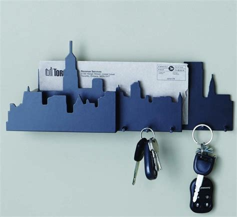 Wall Mounted Mail Organizer And Key Rack fancy cityscape wall mounted key and mail holder