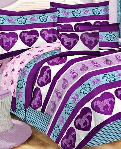 twin full queen pony horse comforter sheet pillow case bed purple blue girls pony horse twin comforter sheets sham