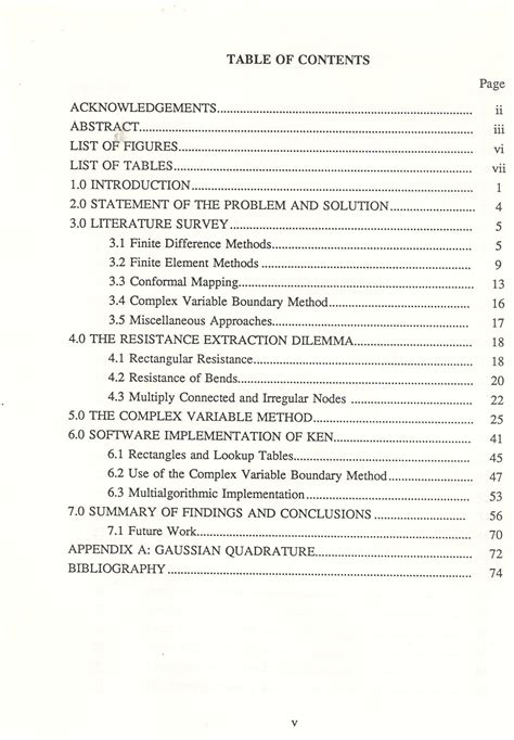 table of contents for dissertation dissertation contents list