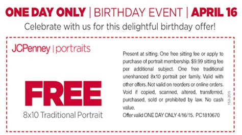 jcpenney portrait coupons printable no sitting fee free 8x10 traditional portrait at jcpenney 4 16 only