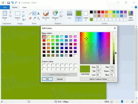 chagne paint color change mail app background to custom color in windows 10