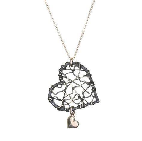 Small Woven Heart with Drop ~ Oxidized   Valerie Preston Design