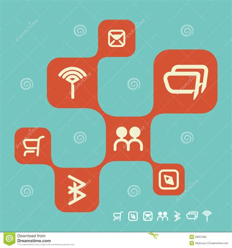 Retro Web Social Networking Design Template Stock Photography Image 29257302 Social Network Website Design Template