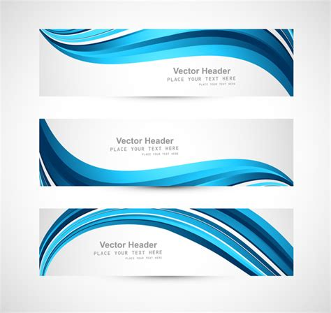 html header design online abstract header blue shiny wave vector design free vector