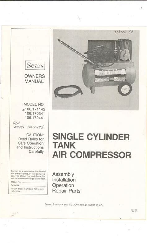 sears single cylinder tank air compressor owners manual 106 171142 106 170341 106 172441 not pdf