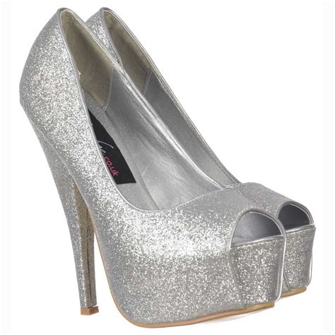 silver sparkly high heels onlineshoe sparkly silver glitter peep toe stiletto