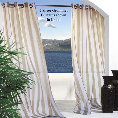 outdoor drape escape stripe outdoor grommet curtain panels