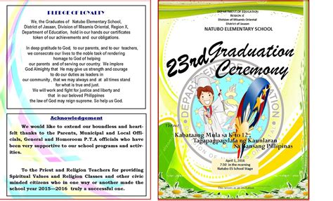 2015 2016 Graduation Program New Template Deped Lp S Graduation Program Template
