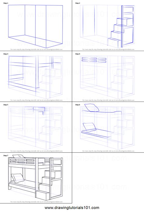 how to draw a bed step by step how to draw a bunk bed printable step by step drawing