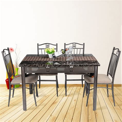 5 pcs dining room table 4 chairs seat wooden folding