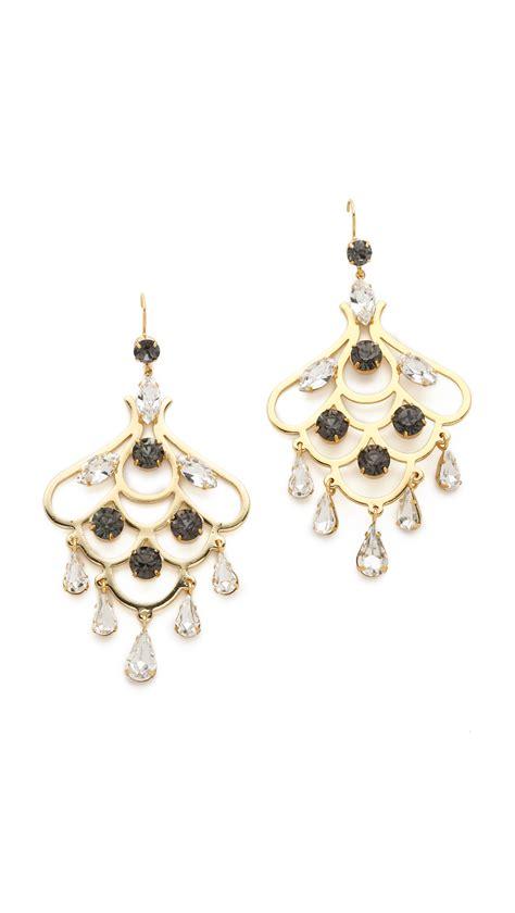 Gold Rhinestone Chandelier Earrings Couture Rhinestone Chandelier Earrings In Gold Clear Lyst