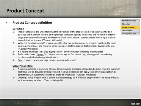 Product Concept Template introduction for product plan template