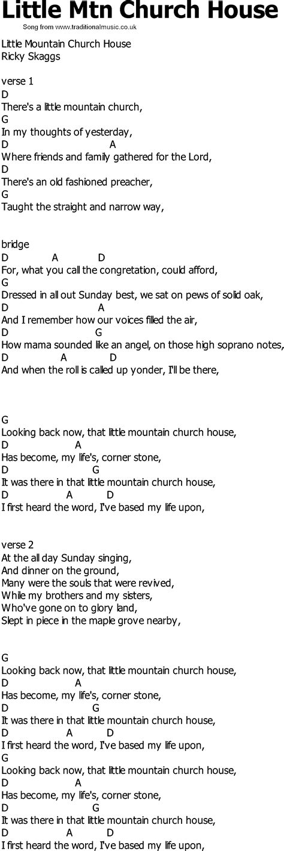 little house lyrics old country song lyrics with chords little mtn church house
