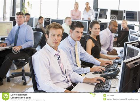 office photo view of busy stock traders office royalty free stock