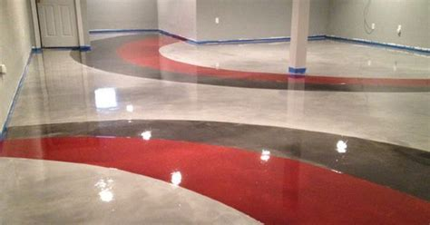 Red, gray design over pearl Metallic Marble epoxy basement