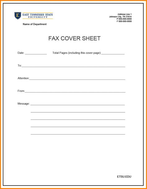 fax cover page template gallery of fax attention