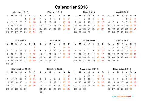 calendrier 2016 224 imprimer gratuit en pdf et excel