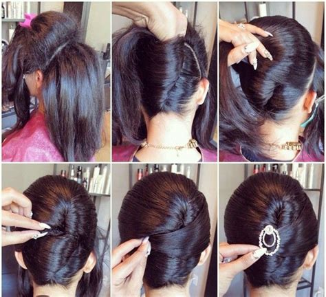 black women french roll tutorial side back chignon hair styling ideas with step by step