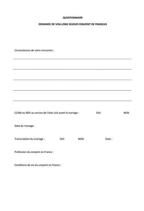 Lettre Communauté De Vie Visa Questionnaire Visa Tls Contact Condition De Vie Et Circonstance De Rencontre Mariage Franco