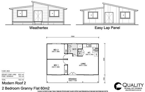 floor plan of a two bedroom flat the rose cottage 2 bedroom granny flat kit home kit