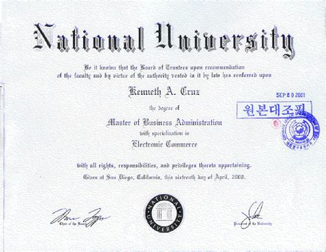 National Los Angeles Mba by Certificates