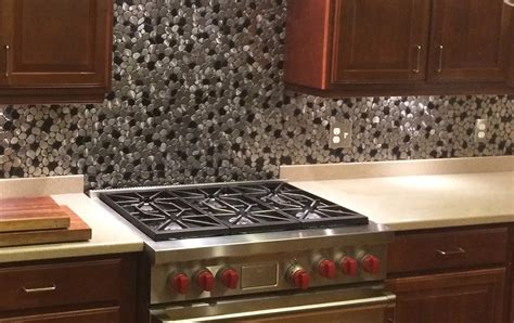 black and silver river rock pattern mosaic stainless steel