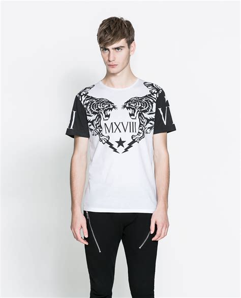 White Printed T Shirt Mens by Zara Printed T Shirt In White For Lyst