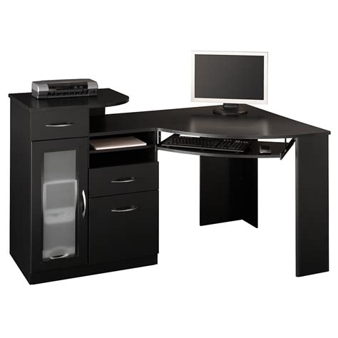 Furniture Black Wooden Corner Computer Table With Keyboard Corner Desk Black