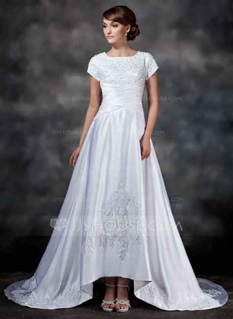 Cc Dress Lace Square a line princess square neckline asymmetrical satin wedding