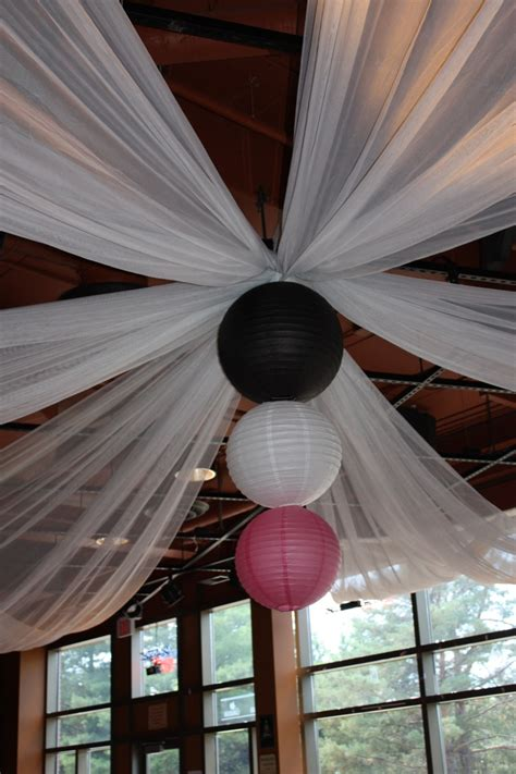 ceiling drape with paper lanterns hall decor pinterest