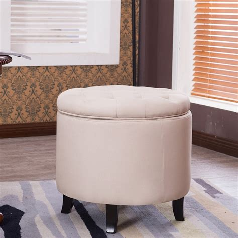 round tufted ottoman coffee table belleze nailhead round tufted storage ottoman large