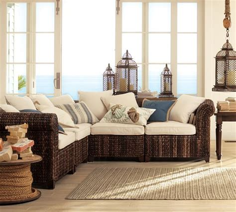 seagrass sectional seagrass roll arm 5 piece sectional pottery barn