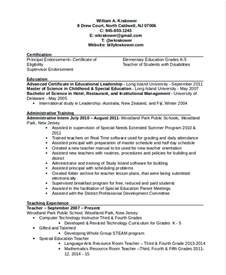 school principal resume sle an effective sle of assistant principal resume
