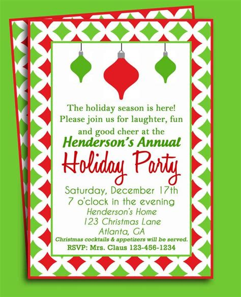 christmas ornament invitation christmas party and