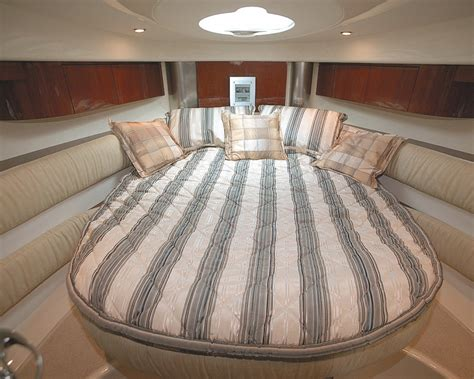 large bed the interior is modest and cozy boat