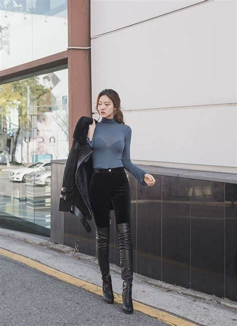 Heels Boot Korea Gds 284 asian in tight sweater thigh boots and leather jacket asian fashion leather