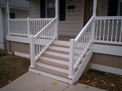 Porch Steps Handrail azek front porch with vinyl railings and columns in st louis st louis decks screened