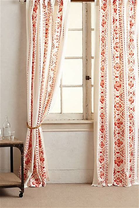 orange printed curtains living rooms red curtains and anthropologie on pinterest